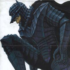 Guts kneeling, fully clothed in the Berserker Armor.