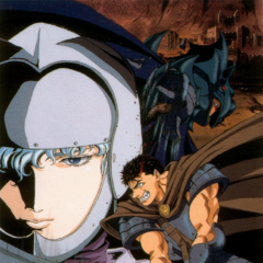 Promotional poster of Guts swinging his sword during his fight with <a href=