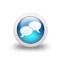 Speech balloon gloss blue 3d two icons white.png