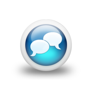File:Speech balloon gloss blue 3d two icons white.png
