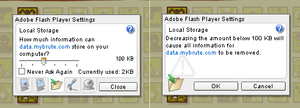 Adobe flash player local storage mybrute setting