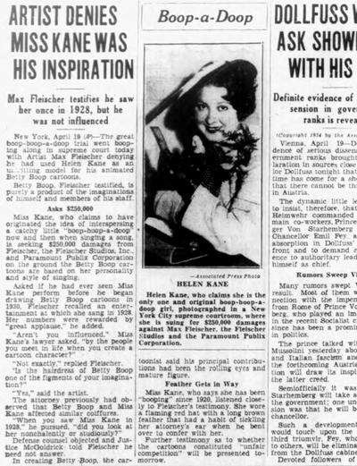 Artist Denies Miss Kane Was His Inspiration (1934)