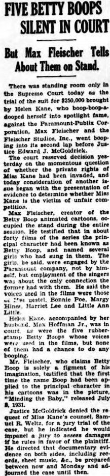 Five Betty Boops Silent In Court (1934)