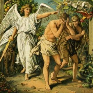 Adam and Eve being expelled from the Garden of Eden