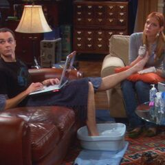 Ramona working on Sheldon's toes.