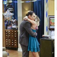 Giving Sheldon a birthday hug.