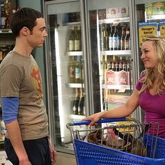 Shopping with Sheldon for Leonard's party.