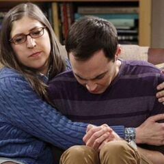 Amy comforting the tearful Sheldon.