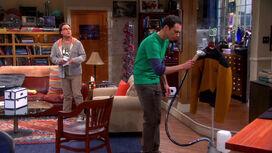Sheldon steamings his costume