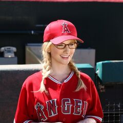 Bernadette dressed for the Angels game.