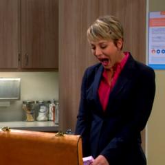 Penny pushing pills. Laughing at her own joke.