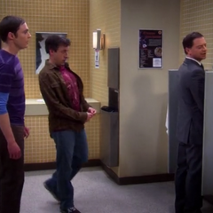 Sheldon and Kripke disturb President Siebert in the bathroom.