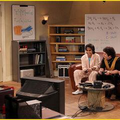 Sheldon meets Raj and Howard.