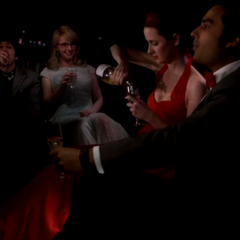 Raj, Emily, Bernie and Howard in their limo.
