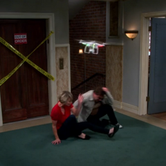 Helicopter attacking Leonard and Penny.