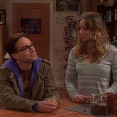 Leonard and Penny having a conversation with Sheldon.