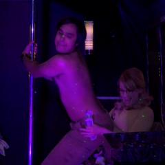 Bernadette sticking money in Raj's pants.