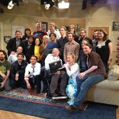 Cast and crew with Stephen Hawking.