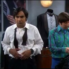 Raj and Howard after listening to Sheldon's comment on rented tuxedos .
