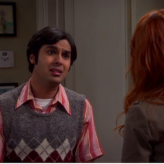 Raj apologizing for snooping in her apartment.
