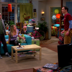 Sheldon finds Leonard hiding at Penny's apartment.