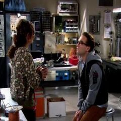 Leonard and Leslie in her lab.