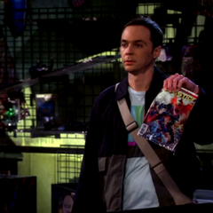 Sheldon wants to help Stuart by buying this waterlogged comic book.