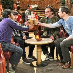 The guys toasting Howard at the Tiki bar.