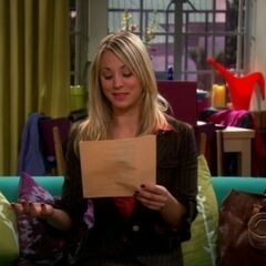 Penny reading through Sheldon's scripted court testimony.