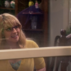Bernadette inviting Sheldon in (after speaking with him through the window crossly).
