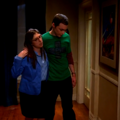 Drunken Sheldon being helped to bed by Amy.