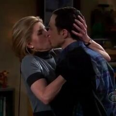 Drunk Beverly kissing Sheldon.