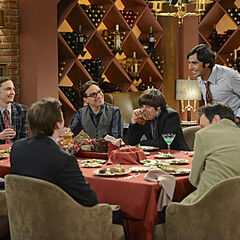 Sheldon, Leonard, Howard, and Raj with Stuart, Kripke, and Wheaton.