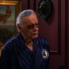 Stan Lee in a Fantastic four robe.