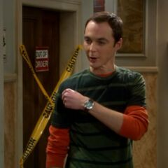 Sheldon at Penny's door over complicating things.