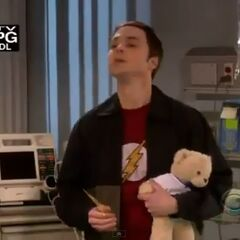 Sheldon visits his sick barber at the hospital.