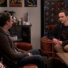 Sheldon apologizing to Stuart. Stuart learns about the trip.