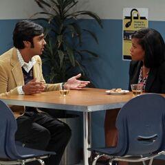 Raj talking to Mrs. Davis.