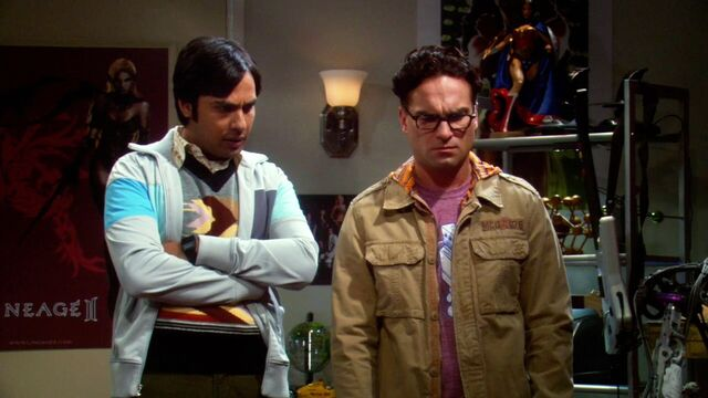 File:40 Raj and Leonard not believing what they are seeing or the story Howard is telling.jpg
