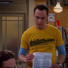 Sheldon showing Leonard that his name is not on the cable bill.
