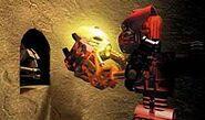 Toa Tahu discovers a gold Kanohi mask