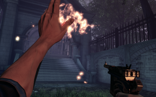 File:BioShock Infinite - Downtown Emporia - Memorial Gardens - gear grave fire f0823.png