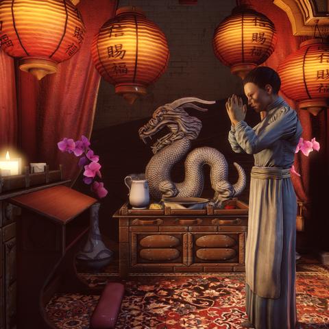 La señora Lin rezando a Buda.