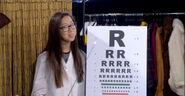 Eye Doctor Wong and her weird eye chart