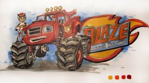 Cartoon Series Nick Jr's Blaze and the Monster Machines Time-Lapse Drawing