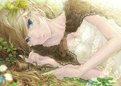 Blondes dress flowers blue eyes cleavage long hair aqua eyes anime girls laying on side original cha wallpapermi.com 60