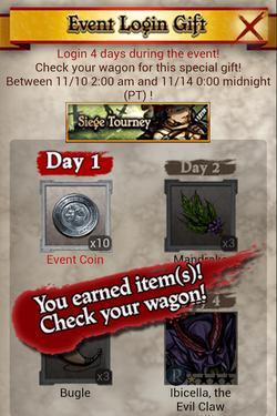 Siege Tourney 6 Event Login Gift