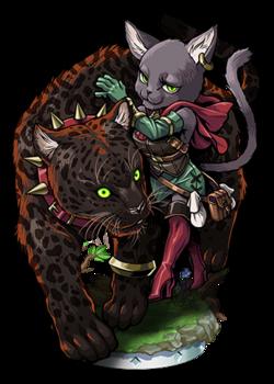 Cat Sith Leopard Tamer Figure