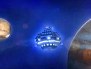 Adudu's Spaceship passing Jupiter