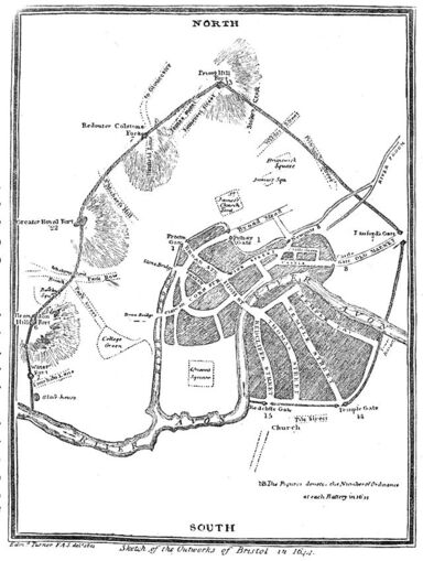 Sketch of the outworks of Bristol in 1644